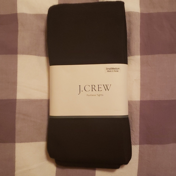 NWT J.CREW BLACK COTTON FOOTLESS TIGHTS SM/MED